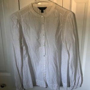 J. Crew White Eyelet Button Down
